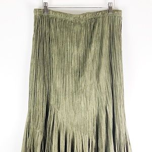 Flair Skirts - Flair Faux Suede Olive Green Midi Skirt Size XL